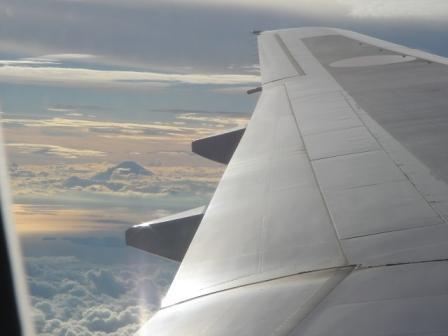 飛行機の翼と富士山